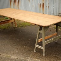 Early 20th century large trestle table