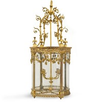 Oversized ornate french brass lantern
