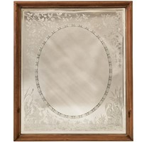 Antique Victorian Etched Mirror