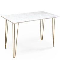 Carrara Marble table with Brass Hairpin legs