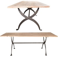 Large reclaimed plank top table with wrought iron