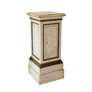 Large French Painted Faux Marble Pedestal