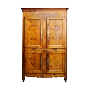 French Louis XV Four-Door Cherrywood Armoire
