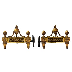 Pair of French Louis XVI 18th Century Fire Dogs