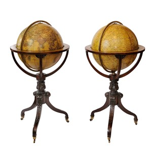 Pair of English Regency Mahogany Globe Stands