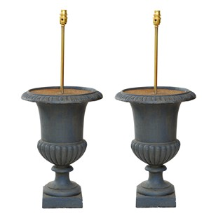 Pair of French Painted Cast Iron Urn Lamps
