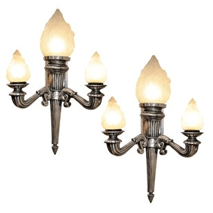 Pair of Massive Neo Classical Alloy Wall Lights