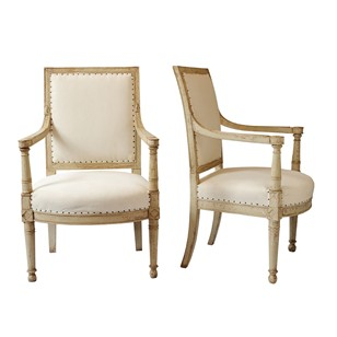Important Napoleonic Painted Open Armchairs