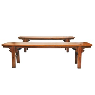 A Pair of Provincial Chinese Elm Benches