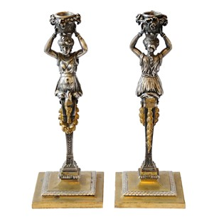 Silvered & Gilt Bronze Empire Candlesticks