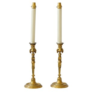 Rare French 19th Century Gilt Bronze Candlesticks