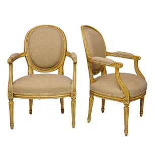 Pair Of French Louis XVI  Period Open Armchairs