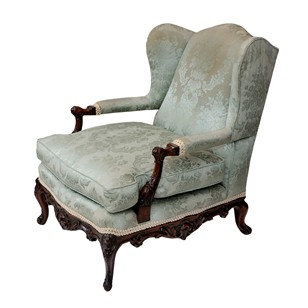 French Walnut Louis XV Style Bergere Arm Chair