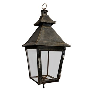 French Painted Tole Hanging Hall Lantern