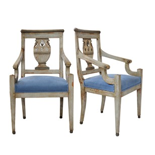 Rare French Directoire Painted Open Armchairs