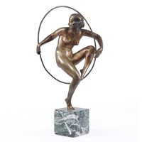 Art Deco Bronze Sculpture Hoop Dancer c1920