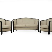 French Art Deco Chairs and Sofa by Paul Follot