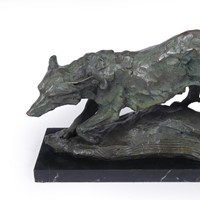 Mid Century Bronze Studio Sculpture of Wolf