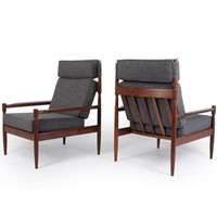 Pair of Mid Century Danish Teak Armchairs c1960