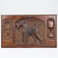 Fox or Airedale Terrier Relief Carved Best In Show