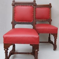 A pair of oak side chairs circa 1870