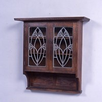 A glazed, oak wall cabinet circa 1900