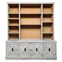Vintage Italian Veneered Travertine Bookcase