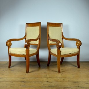 Pair Empire French Chairs Inc Full Reup