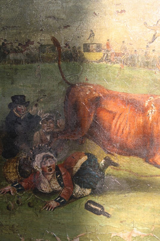 """Bull Broke Loose"", Bull Baiting Oil on Canvas -the-school-for-scandal-img-8658-fotor-main-636901702770908716.jpg"