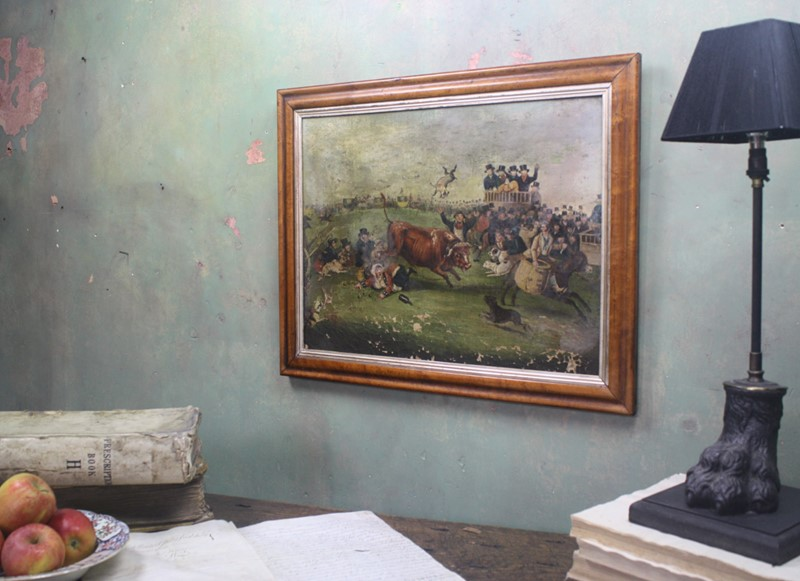 """Bull Broke Loose"", Bull Baiting Oil on Canvas -the-school-for-scandal-img-8700-fotor-main-636901704043262389.jpg"