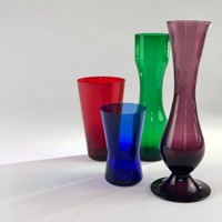 Set of Mid Century bold coloured vases