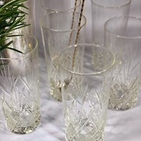 Six Antique French hand blown tall tumblers