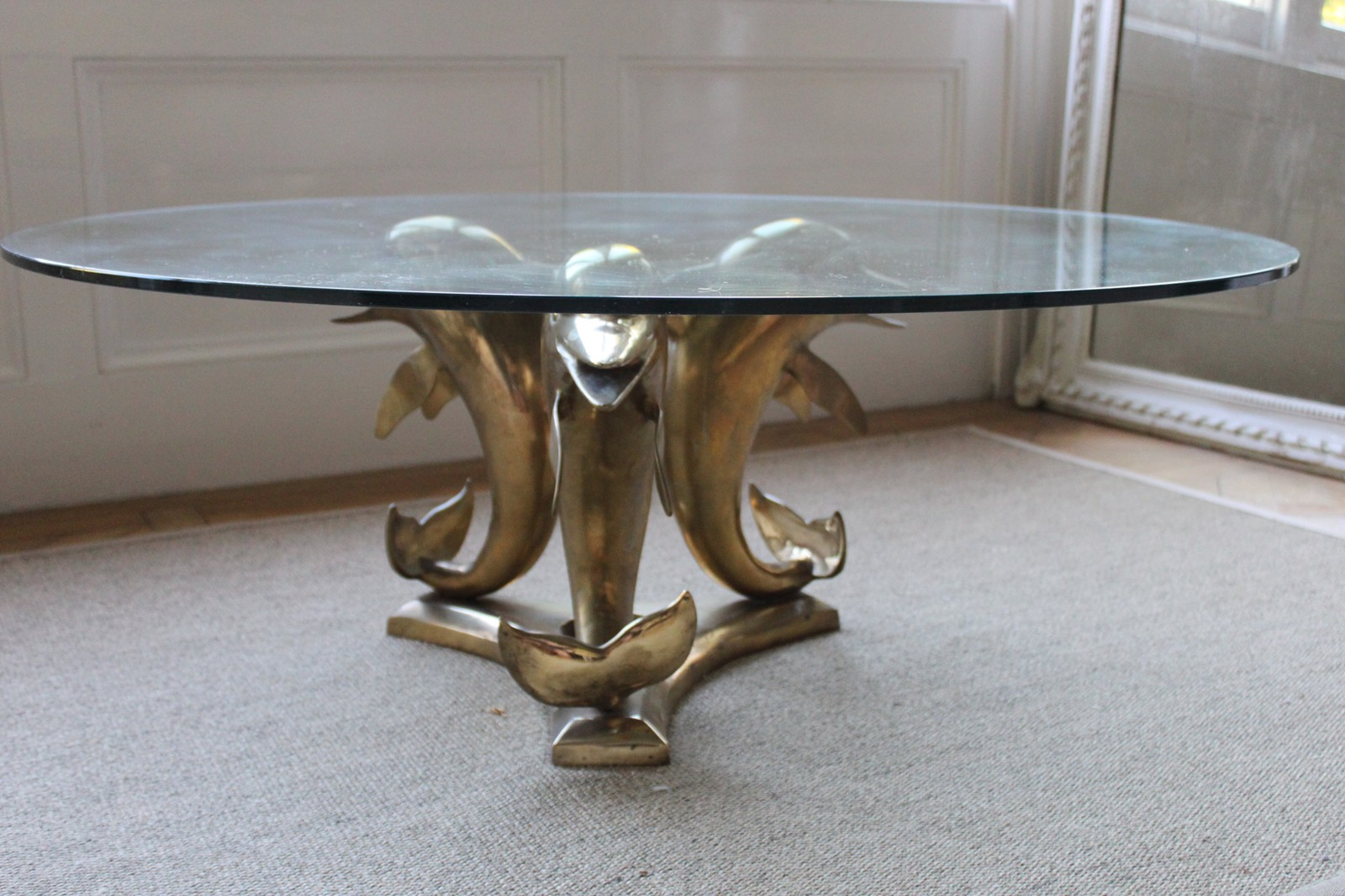 High Quality Vintage Brass U0026 Glass Dolphin Coffee Table The Vintage Trader 2015