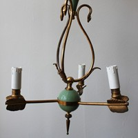 Gilt brass swan &  arrow chandelier