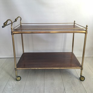 Swan handle brass and oak drinks trolley/bar cart
