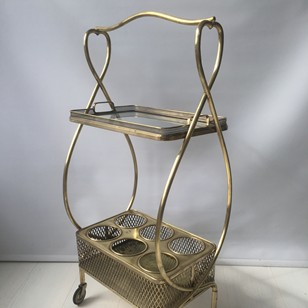 Petite vintage French brass drinks trolley