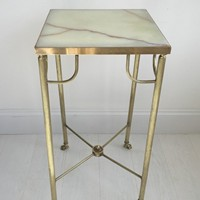 Tall brass and onyx plant stand