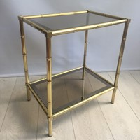 Vintage brass bamboo side table