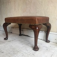 Edwardian Cabriole Leg Leather Stool