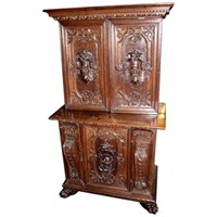 Italian Baroque Carved Walnut Cupboard