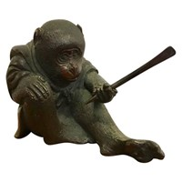 Small Meiji Japanese Bronze Figure of a Monkey