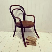 A Vintage Childs Bentwood and Leather Armchair