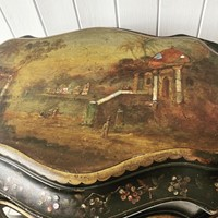 A Victorian Ebonised and Painted Sowing Table