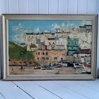 Albufeira, Algarve Oil On Canvas 1970's