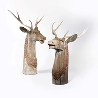 Large Pair Of Carved & Painted Wooden Deer Heads