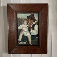 A C19th Continental Oil Painting of Man & Child