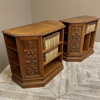 Pair Of Carved Walnut Table Bookcases