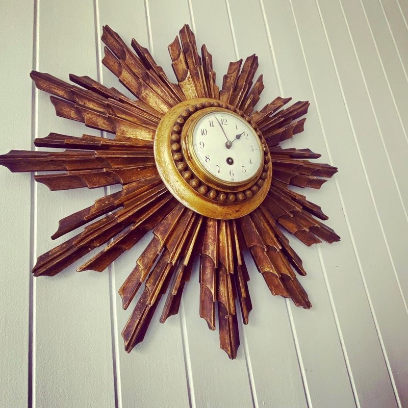 A French Giltwood Starburst Wall Clock Circa 1890-tinker-toad-fullsizeoutput-2651-main-637457950608696009.jpeg