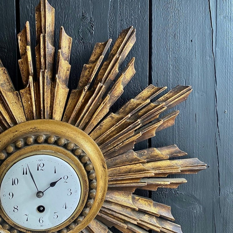 A French Giltwood Starburst Wall Clock Circa 1890-tinker-toad-fullsizeoutput-2653-main-637457950620883443.jpeg