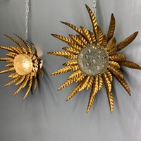 Rare pair of Spanish palm sunburst wall lights